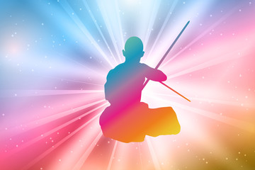 Kung Fu Master Silhouettes, Colorful, Rainbow
