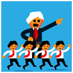 Boss and office workers. The Vector Illustration is showing the concept of office workers obey the boss's orders.