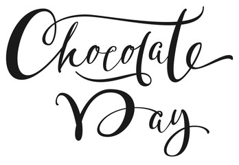 Chocolate Day hand written ornate calligraphy text