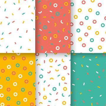 ice cream donuts seamless pattern set