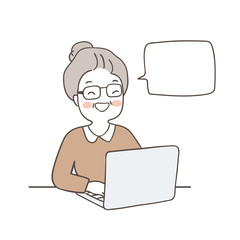 Draw happy elderly woman searching on her laptop