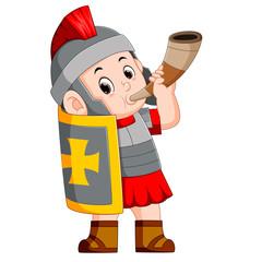 roman soldier blow war horn