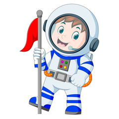 Astronaut in white spacesuit on white background