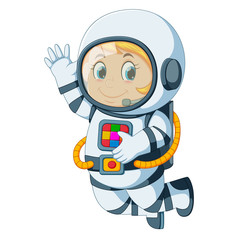 Cartoon astronaut floating
