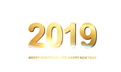 Happy new year card over white background. Text sign 2019 merry christmas and happy new year. Vector illustration.