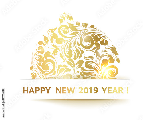 christmas ball with curves over white background the sign happy new year 2019 at the