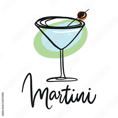 Martini Glass With Olive Hand Drawn Vector Illustration Stock
