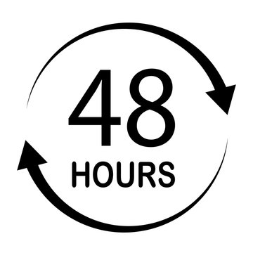 48 hours on white background. flat style. 48 hours sign. 48 hours for your web site design, logo, app, UI. 48 hours symbol.