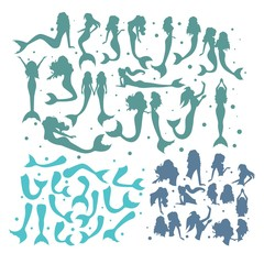 Colorful set of silhouettes of mermaids with tails and bodies of blue colors isolated on white background