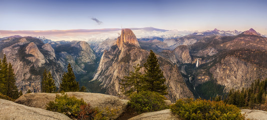 Panorama of Half Dome from the Glacier Point overlook in Yosemite National Park