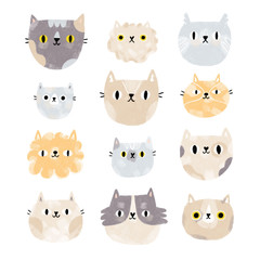 Cat faces set