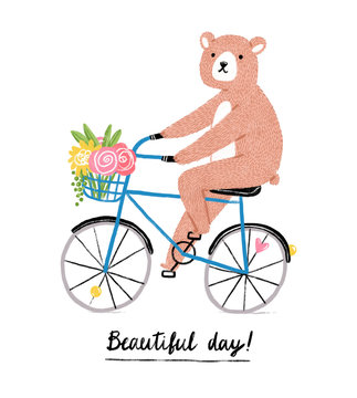 Beautiful day, bear on a bicycle
