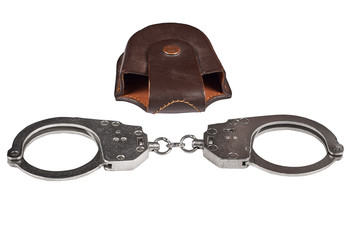 real police handcuffs with case, isolated on white background