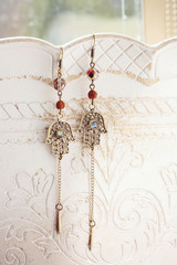 Oriental metal earrings with labradorite stone