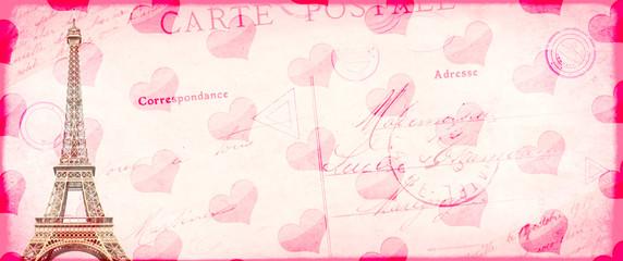 Grunge Valentine vintage backgroun with Eiffel tower