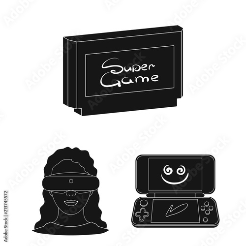 06e33ce055a3 Game console and virtual reality black icons in set collection for design.Game  Gadgets vector symbol stock web illustration.