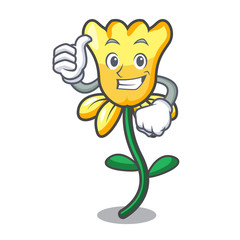 Thumbs up daffodil flower character cartoon