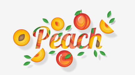 Word peach design decorated with peach fruits and leaves in paper art style , vector , illustration