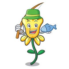 Fishing daffodil flower mascot cartoon