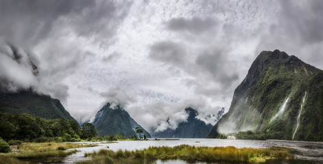 Heads in the Clouds Panorama at Milford Sound