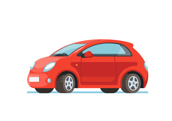 Foto op Plexiglas Cartoon cars Vector flat illustration of a happy young woman driver sitting rides in his red car. Design concept of buy a new car
