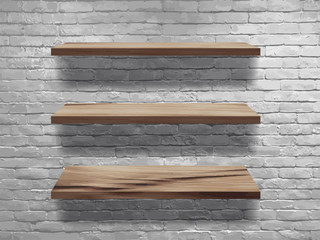 Vector wood shelves on white brick wall, Loft workspace concept