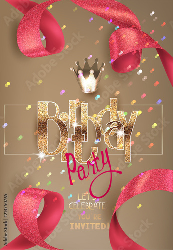 Birthday Invitation Card With Beautiful Ribbon And Colorful
