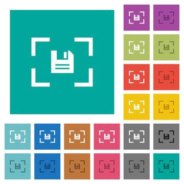 Camera save image square flat multi colored icons