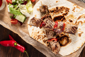 beef kebab with sauce