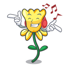 Listening music daffodil flower mascot cartoon
