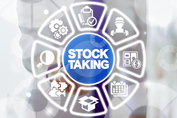 Business woman clicks a stock taking button words surrounded by specific icons. Stocktaking Business Industry concept.