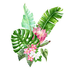 Watercolor tropical leaves and flowers