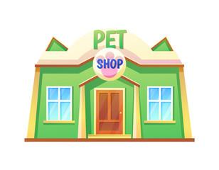Pet Shop Store with Pets, Vector Illustration