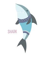 Shark in sweater childish cartoon book character