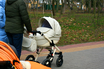 A man and a woman go with a stroller