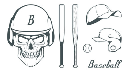Set of baseball player design elements. Hand drawn Baseball ball. Cartoon baseball helmet. Hand drawn Man Head. Baseball bat. Vector graphics to design