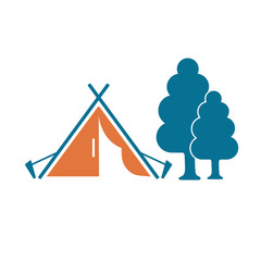Stylized icon of tourist tent