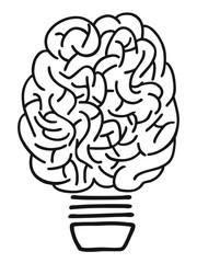 doodle brain lightbulb outline
