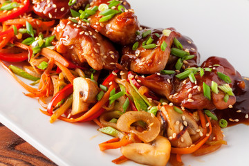 Teriyaki chicken grill with sliced vegetables