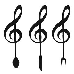 music note with fork knife spoon symbol
