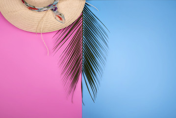 Colorful summer female fashion with Palm branches
