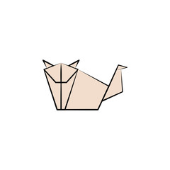 dog colored origami style icon. Element of animals icon. Made of paper in origami technique vector Illustration dog icon can be used for web and mobile