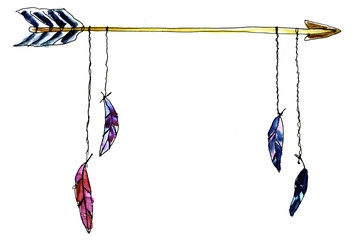 Watercolour Native american arrow poster for print, cards, pictures
