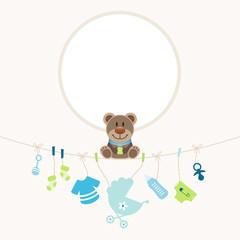 Teddy Hanging Baby Symbols Boy Frame Retro Dots