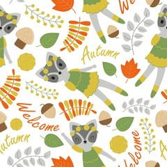 Seamless pattern with cute raccoon and flowers vector cartoon suitable for birthday wallpaper design, scrap paper and kid fabric clothes