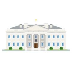 The White House at Washington, DC, flat design vector icon