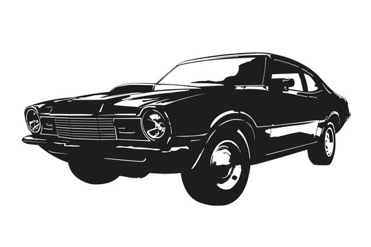 American muscle car from the 1970s vector silhouette illustration