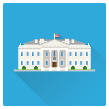 The White House at Washington flat design long shadow vector illustration