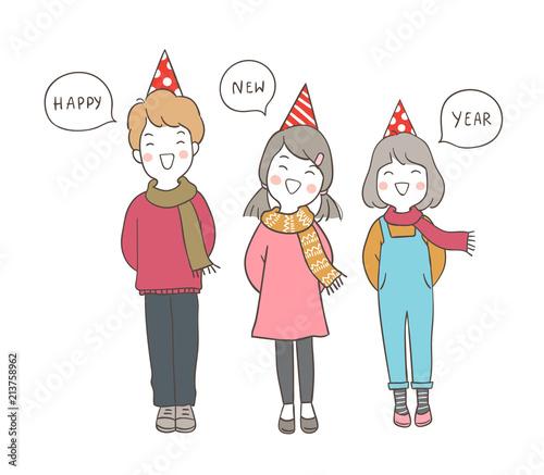 draw happy kids saying happy new year in speech bubble