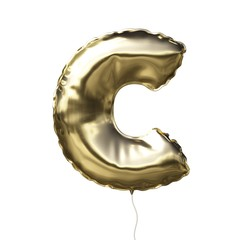 Letter C made of golden inflatable balloon isolated on white background
